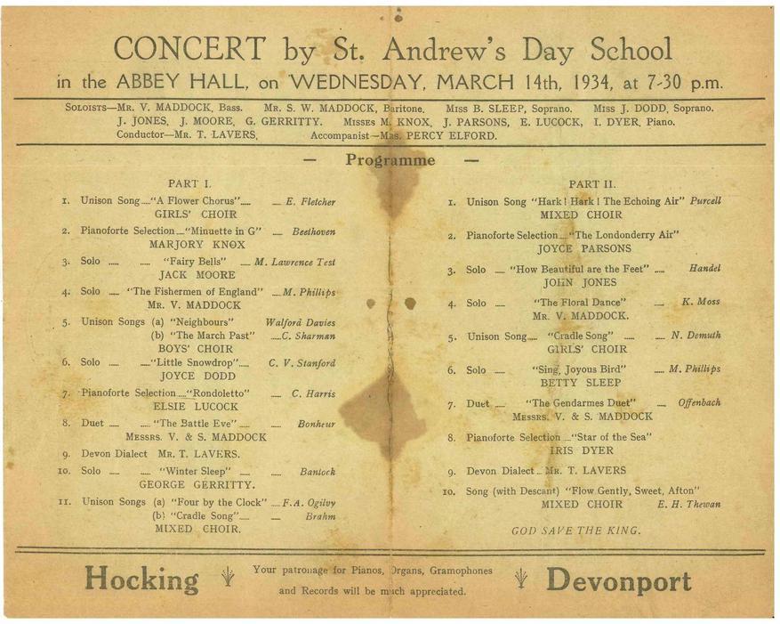 School Concert Programme 1934
