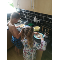 Making their own breakfast - very independent!