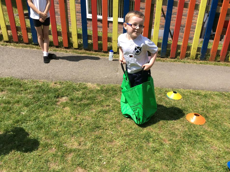 We found the sack races very funny!