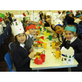 Year 4 girls enjoying their meal.
