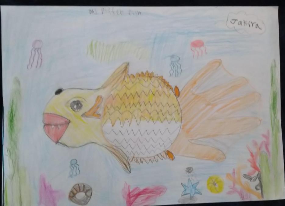 Jakira drew a fantastic puffer fish!