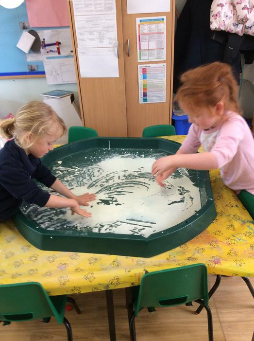We also had fun with cornflour, it was very messy!
