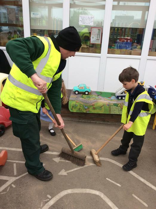 We learnt how to sweep the floor.