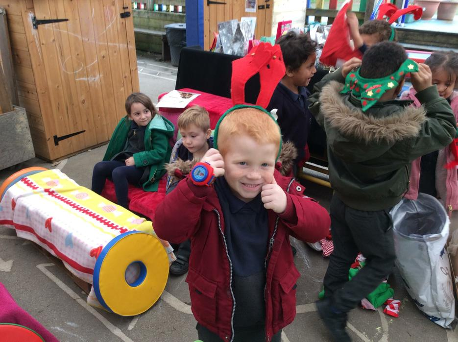 Playing outside on Santa's sleigh