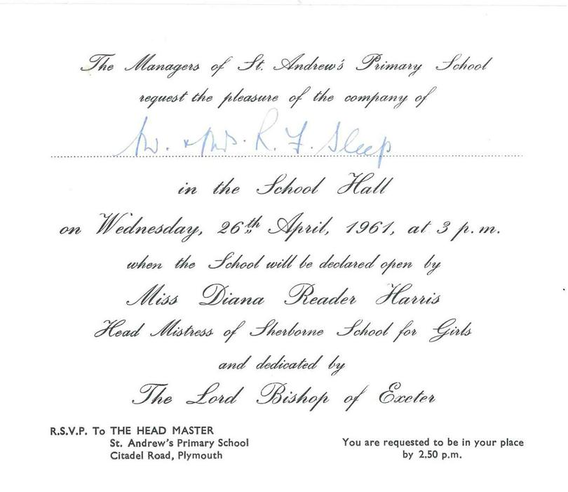 An invitation to the opening of the new school