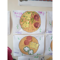 Bea's super learning on fractions. Pizzas-yummy!