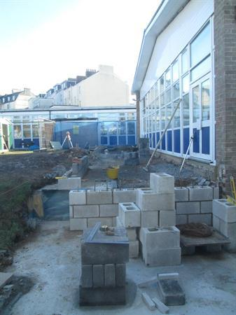 Building work for new hall conservatory