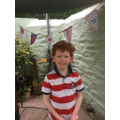 Theo created some colourful VE Day bunting.