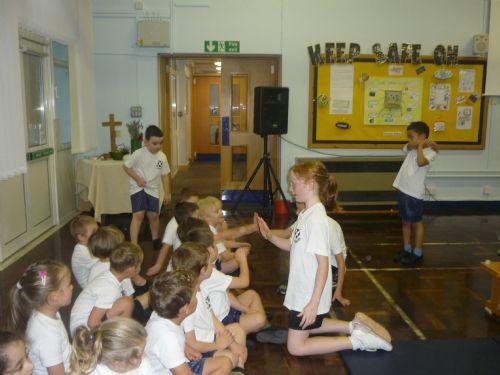 The year 5 sports council members helped us along!