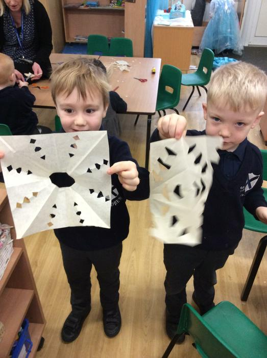 We learnt how to make our own snowflakes