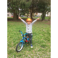 Theo has learned to ride a bike. WOW!