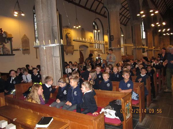 The children attend church on St. Andrew's Day