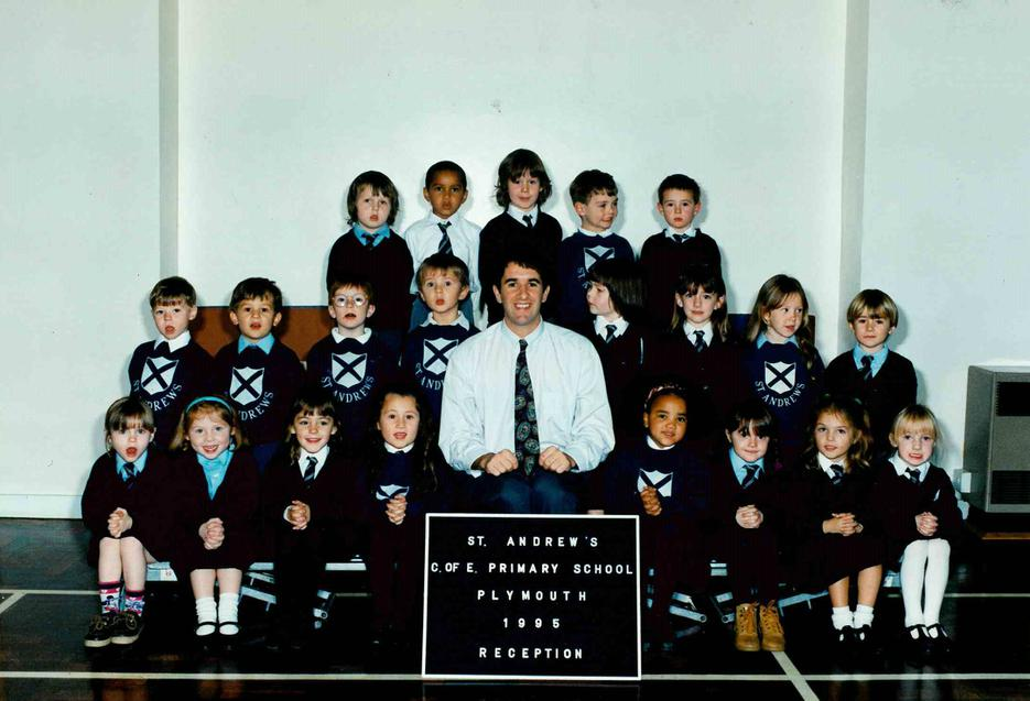 Mr Clooke with Reception class 1995