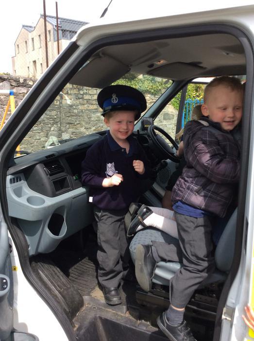 We sat in the front of the van too.