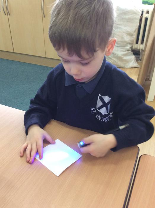 We used the pens to read the Evil Pea's messages