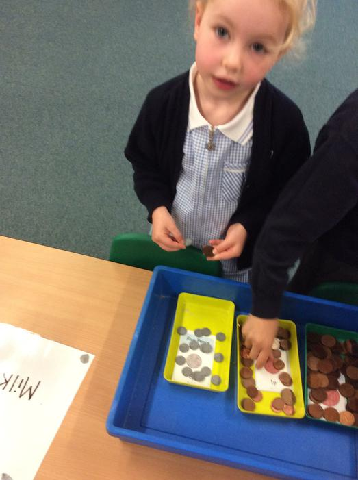 You could use 1p, 2p and 5p coins