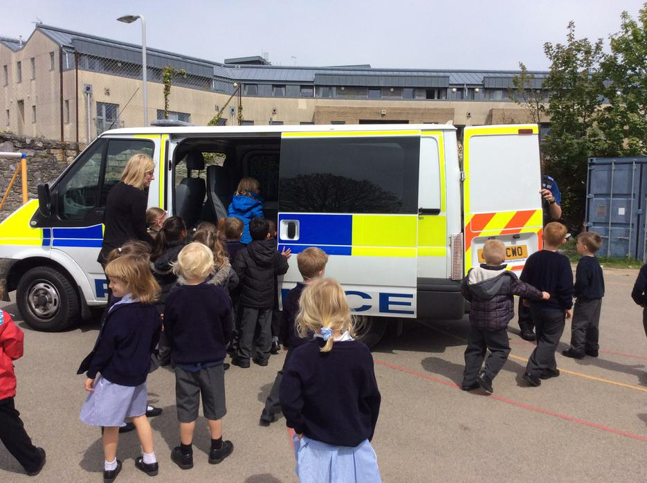 A police van arrived in our playground!