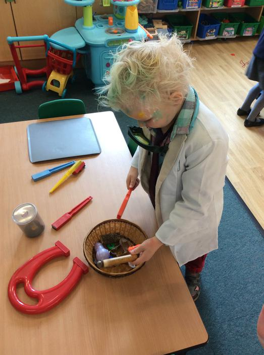 One of our mad scientists exploring the magnets
