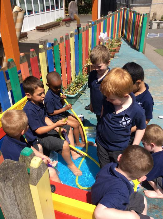 We had lots of fun in the paddling pool today!