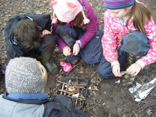 Using 'fairy blankets' to start our fire
