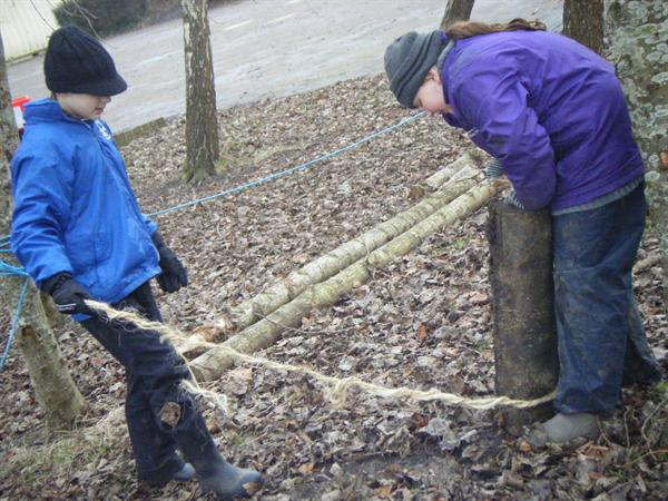 Attaching the rope to the timber