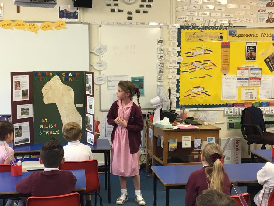 Ailish presenting her topic on Cannock Chase
