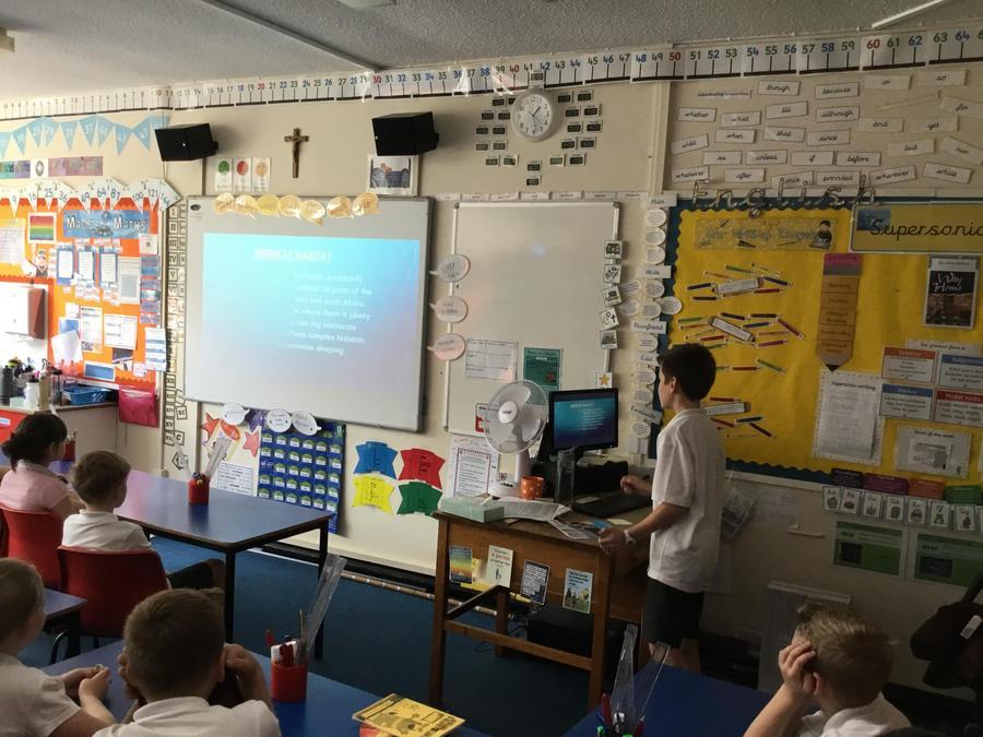 Noah presenting his topic 'animals'