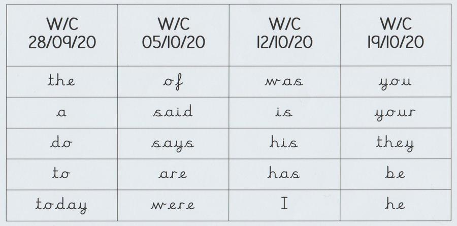Autumn 1 Spellings