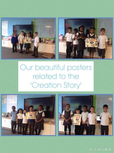 Posters depicting the Creation Story in R.E.