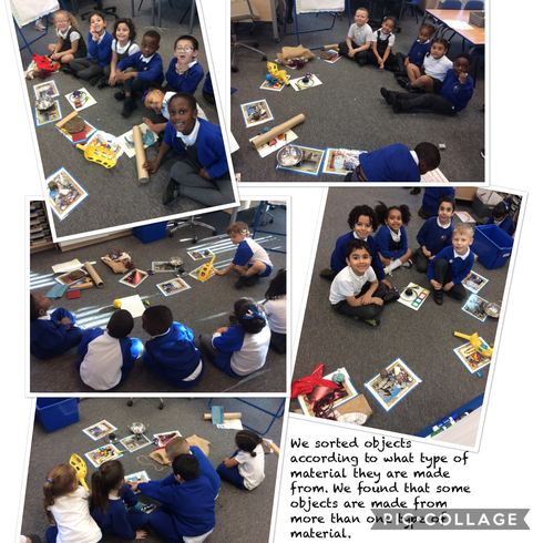 Then we sorted objects according to which material they are made from.