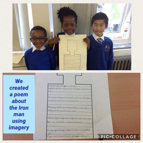 We created a poem about the Iron Man using imagery