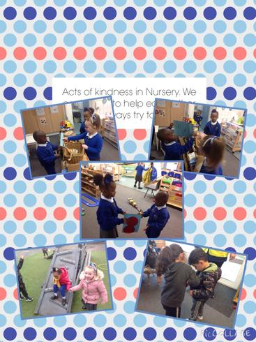 Acts of love and kindness in nursery.