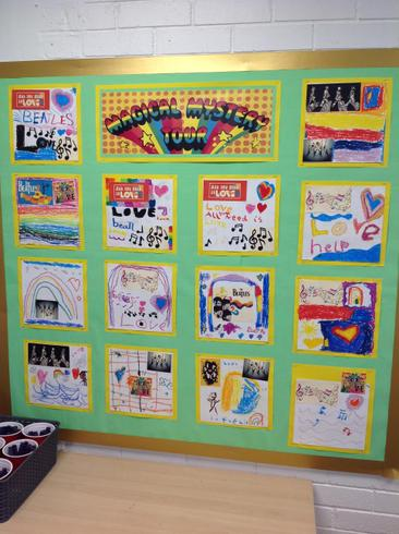 Y2's Beatles record covers using pastels & collage