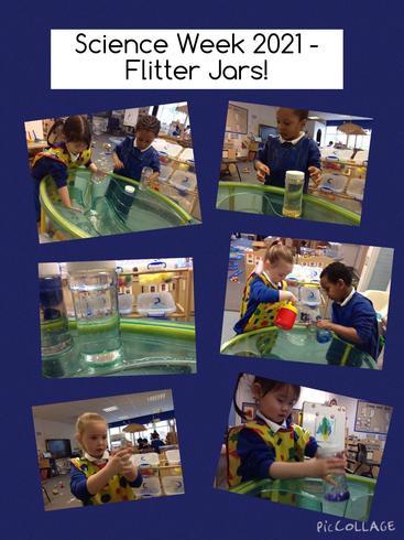 Creating 'flitter jars' during Science Week.