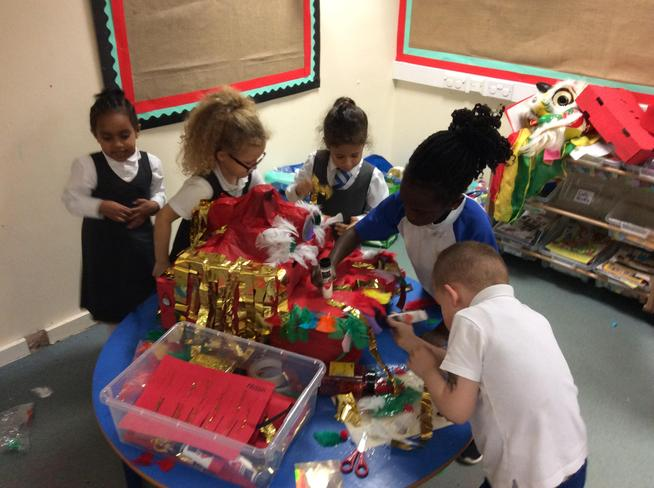 Busily creating our dragon!