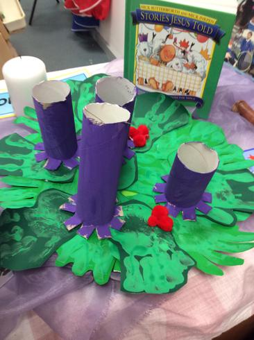 Our Advent wreath we made!