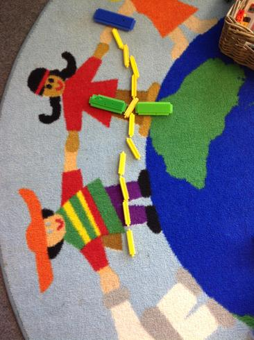 The children created crosses with their favourite things.