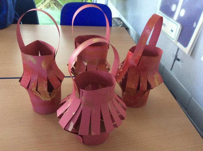 Year 1 made some simple paper lanterns.