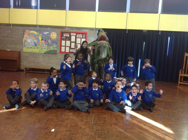 This is our class roaring like a dinosaur!