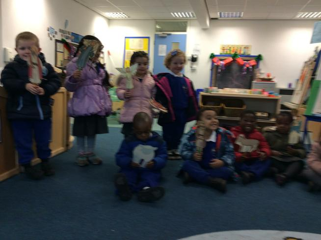 AM Nursery act out the Nativity with our puppets