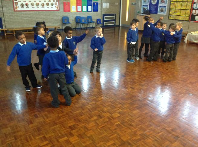 We acted it out altogether. Great teamwork!