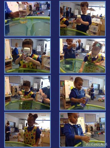 We observed what happened to the flitter in the water.