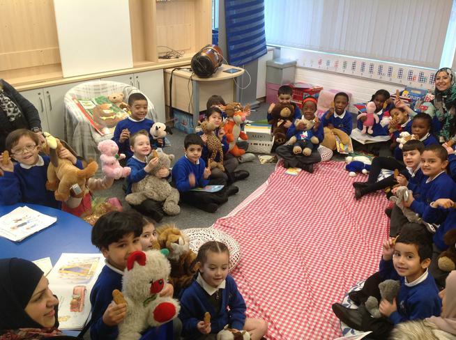 Our teddy bears joined us for a picnic.