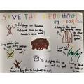 Georgina's 'Save the hedgehog' poster