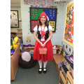 Mrs Morgan as Little Red Riding Hood