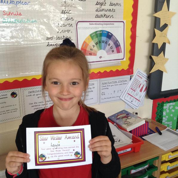 Congratulations to Layla our writer of the week 30.4.21