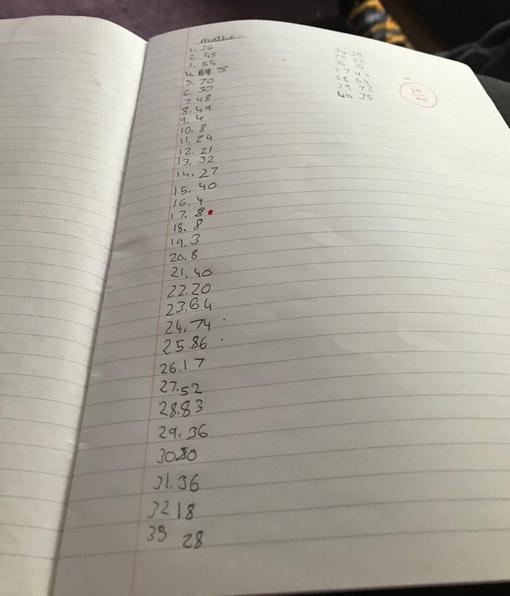 Luke's mental maths work