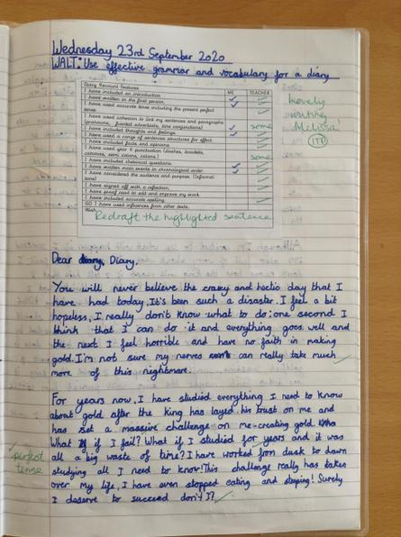 Class 13 - Fantastic writing and editing Melissa. Your diary entry was a pleasure to read.