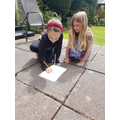 Mollie making her sundial