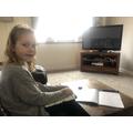 Isla enjoying fractions